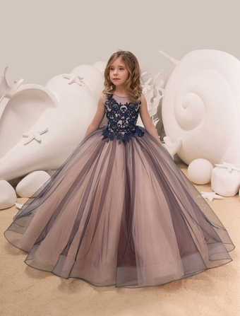 b26e5a72b7d2 Princesss Flower Girl Dresses Ball Gowns Lace Tulle Kids Pageant Party Dress