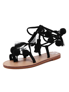 090d52455f1 Black Gladiator Sandals Women Toe Loop Lace Up Flat Sandals With Pom Poms