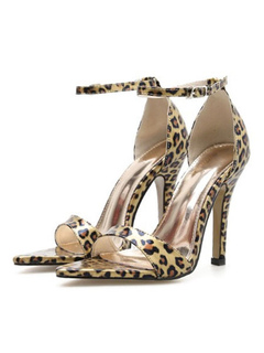 254b142e056d5 High Heel Sandals Brown Open Toe Leopard Ankle Strap Sandal Shoes For Women