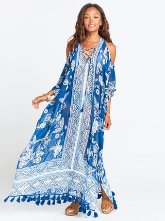 9703834ef78 Maxi Robe Boho 2019 Bleu En Mousseline De Soie Imprimé Floral À Épaules  Froides À Lacets