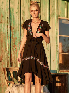 2960d40dad3 Boho Summer Dress Floral Embroidered Plunging Short Sleeve Women Beach Dress