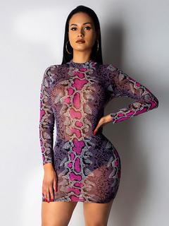 6c74572c23 Sexy Club Dress Sheer Snake Print Long Sleeve Women Going Out Dress