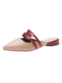 faae69fd0 Women Mule Loafers Nude Pointed Toe Bow Backless Slip On Mules
