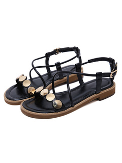53eabfcf96e9 Black Flat Sandals Women Open Toe Metal Detail Criss Cross Sandal Shoes