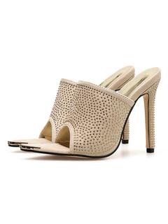 0ad8f3f1fe44 High Heel Mules Women Open Toe Rhinestones Backless Mule Shoes