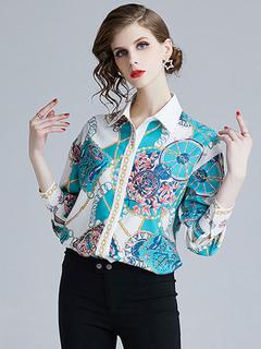 ad85390f664c5 قميص للنساء ضوء السماء الزرقاء أزرار طباعة الأزهار ترتيب الأسرة ذوي الياقات  البيضاء طويلة الأكمام قمم