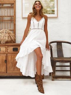 22d6c7e44 White Long Dress Bohemian Dresses Sleeveless High Low Slip Dress