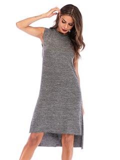ad88f7794c7 T-shirt robes grande taille robe d été sans manches gris fente taille