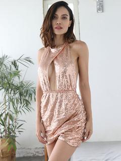 649463436d Vestido del club de la mujer Joya Cuello de lentejuelas sin mangas  Conformar Vestido atractivo del