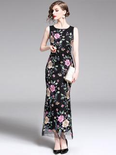 9ea180296b85 Vestito da partito nero Vestito semi formale con maniche lunghe ricamate  floreali