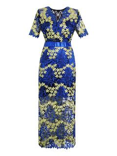 ce77f47411b5 Vestidos de encaje azules Flor Con Cuello En V Mangas cortas Mujeres  Vestidos largos