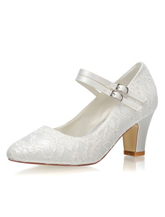 1e01c0e3e2d333 Chaussures de mariage vintage ivoire bout rond chaussures Mary Jane  chaussures de mariée en dentelle