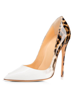 5ebd7eba6f White High Heels Women Dress Shoes Pointed Toe Leopard Stiletto Heel Slip  On Pumps