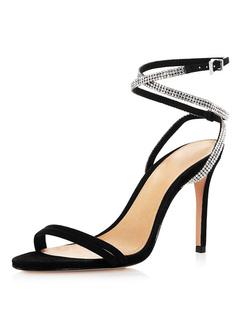 bb0eb593 Zapatos de noche negros Mujer Punta abierta Rhinestones Correa del tobillo  Sandalias de tacón alto