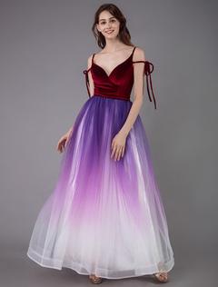 6c7e342815b3 Prom Dress 2019 Velour Ball Gown cinghie collo senza maniche sfumatura  colore abiti da festa sociale