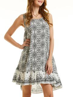 da27eee184 Vestido de verano de gran tamaño impreso sin mangas vestido de las mujeres