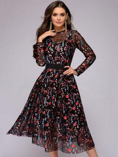 5fd77f68c6 Vestido negro vintage vestido floral de manga larga con bordados de 1950