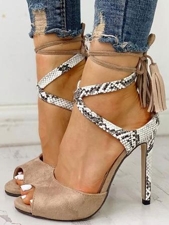 0f7b91e07 Sandálias de salto alto camurça peep toe padrão de cobra rendas até sandália  sapatos para mulheres