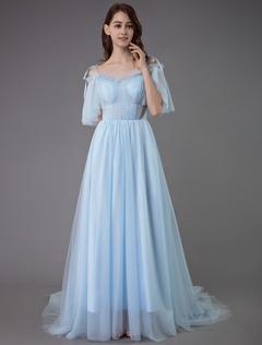 51e448c1df Vestido de baile 2019 vestido de baile de tiras de manga curta plissada  pageant vestidos de