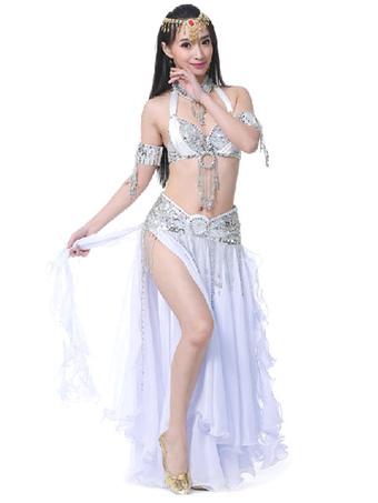 cc0cb0922b2e Belly Dance Costumes Split Rhinestones Ruffle Chiffon Women Performance  Costume