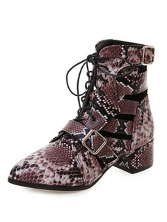 5a67f84a57d3 Brown Ankle Boots Women Pointed Toe Snake Pattern Cut Out Buckle Detail  Lace Up Booties