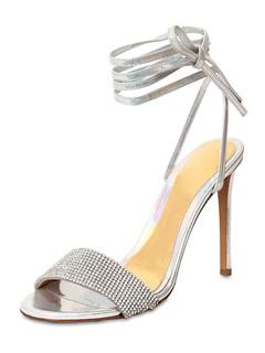 37e16e00131 Sandalias de noche de plata con punta abierta para mujer Zapatos de fiesta  de tacón alto