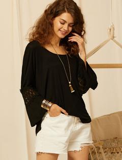 fd3458d9b Blusas Negras Mujer - Moda Feminina Fantasias Casamento Calçado ...
