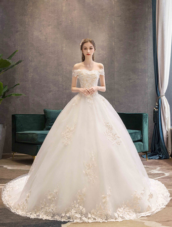 20ed12836c07 Princess Wedding Dresses Ivory Off The Shoulder Lace Applique Floor Length Bridal  Gown With Train
