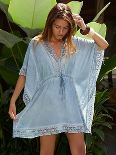 823c13e299ef2 Cover Up For Women Baby Blue Drawstring Cut Out Sweetheart Neck Lace  Patchwork Summer Beach Cover