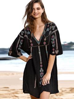 8139a67e7a891 Women Cover Up Geometric Embroidered Sweetheart Neck Half Sleeve Summer  Beach Swimwear