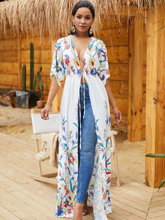 8ddab65b68f96 Cover Up For Women Drawstring Floral Print Flowers V Neck Cotton Summer  Beach Swimwear