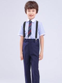 Milanoo / Ring Bearer Suits Blue Cotton Short Sleeves Tie Pants Shirt Formal Party Suits 3pcs