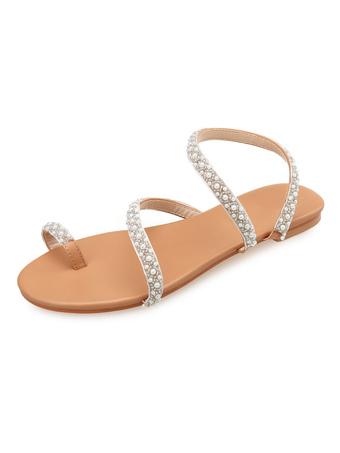 719c03f31b9 Sandalias de playa para mujer Punta de dedo Loop Perlas sandalias planas  zapatos