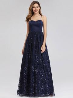 Milanoo / Evening Dress A-Line Gorgeous Straps Neck Floor-Length Sleeveless Zipper Sash Polyester Social Party Dresses