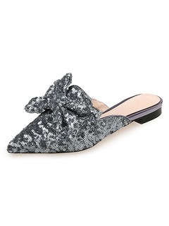 Milanoo / Women's Mules Gray Glitter Pointed Toe Slip-On Mordern Shoes