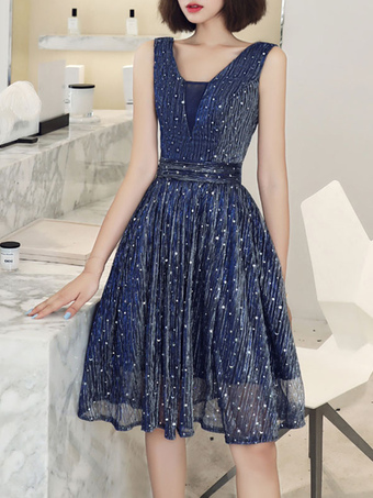 Milanoo / Sequin Party Dress 2020 Sleeveless Knee Length Lace Up Pleated Homecoming Occasion Dresses