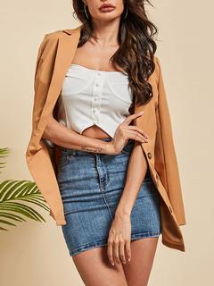 Milanoo / Blazer For Women Fashion Turndown Collar Buttons Long Sleeves