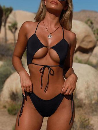 Milanoo / Women Bikini Swimsuit Black Backless Summer Beach Bathing Suits