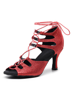Milanoo / Women's Latin Dance Shoes Sequined Red Peep Toe Lace Up Ballroom Shoes