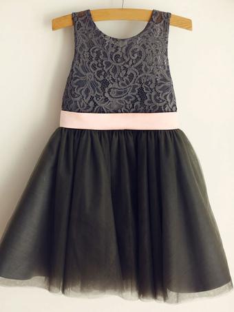 Milanoo / Flower Girl Dresses Jewel Neck Sleeveless Bows Kids Party Dresses