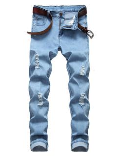 Jeans strappati da uomo 2019 taglia forte Jean affusolato leggero affusolato