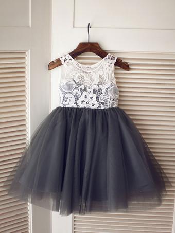 Milanoo / Flower Girl Dresses Jewel Neck Tulle Sleeveless Knee-Length Princess Silhouette Buttons Kids Social Party Dresses