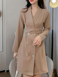 Milanoo / Trench Coat For Women Quality Buttons Turndown Collar Long Sleeves Polyester Oversized Front Button