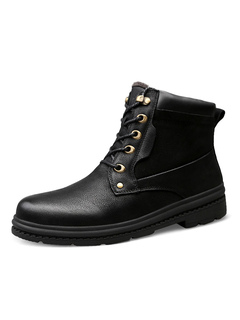 Milanoo / Men's Martin Boots Modern Leather Round Toe Shoes For Winter