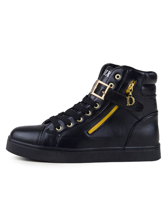 Milanoo / High Top White Sneakers For Men Comfy Lace Up Shoes