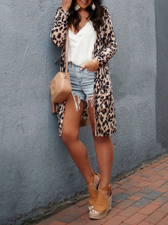 Milanoo / Sweaters Cardigans Leopard Leopard Print Long Sleeves V Neck