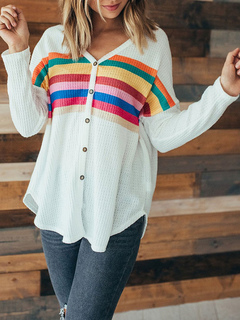 Milanoo / Pullovers For Women White Buttons Stripes V Neck Long Sleeves Sweaters