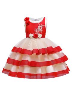 Milanoo / Flower Girl Dresses Jewel Neck Cotton Blend Sleeveless Knee Length Princess Silhouette Flowers Kids Social Party Dresses