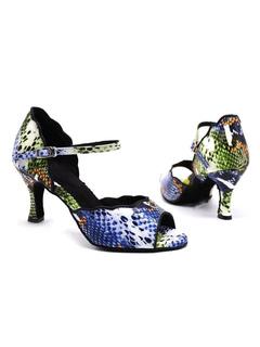Milanoo / Womens Latin Dance Shoes Open Toe Python Ballroom Dance Shoes