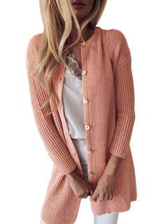 Milanoo / Women Sweaters Cardigans Button Up Long Sleeves Knitted Jacket